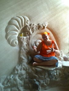 Minna at the Windows of the Earth Sanctuary caves in New Mexico